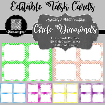Blank Task Cards - Basics: Circle Diamonds & White | Editable PowerPoint