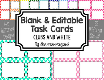 Blank Task Cards - Basics: Clubs & White | Editable PowerPoint