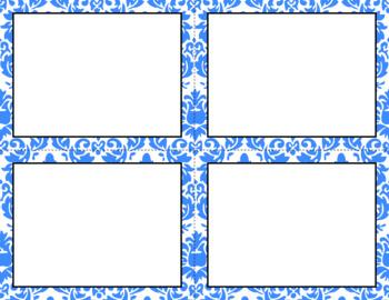 Blank Task Cards - Basics: Damask & White | Editable PowerPoint