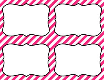 Blank Task Cards - Basics: Diagonal Stripes & White | Editable PowerPoint