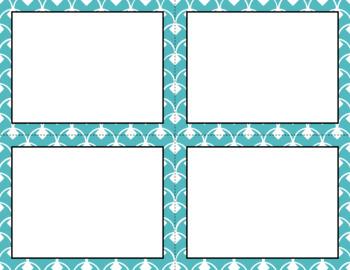 Blank Task Cards - Basics: Diamond Scallops & White   Editable PowerPoint