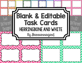 Blank Task Cards - Basics: Herringbone & White | Editable PowerPoint