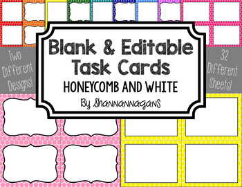 Blank Task Cards - Basics: Honeycomb & White | Editable PowerPoint