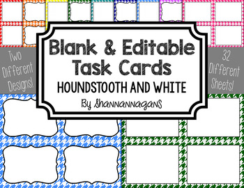 Blank Task Cards - Basics: Houndstooth & White | Editable PowerPoint