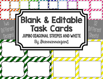 Blank Task Cards - Basics: Jumbo Diagonal Stripes & White | Editable PowerPoint