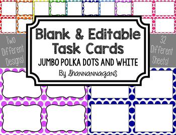 Blank Task Cards - Basics: Jumbo Polka Dots & White | Editable PowerPoint