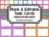 Blank Task Cards - Basics: Moroccan & White | Editable PowerPoint