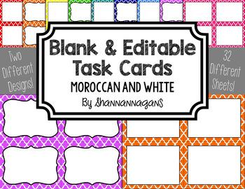 Blank Task Cards - Basics: Moroccan & White | Editable PowerPoint