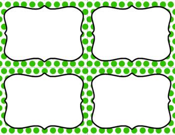 Blank Task Cards - Basics: Polka Dots & White   Editable PowerPoint