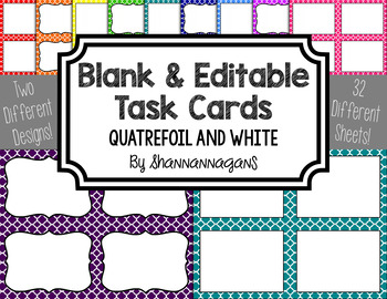 Blank Task Cards - Basics: Quatrefoil & White | Editable PowerPoint