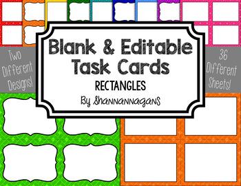 Blank Task Cards - Basics: Rectangles | Editable PowerPoint