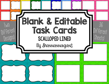 Blank Task Cards-Basics: Scalloped Lined (300dpi) with Edi