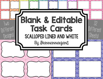 Blank Task Cards - Basics: Scalloped Lined & White | Editable PowerPoint
