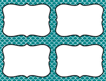Blank Task Cards - Basics: Scalloped (Mermaid) & White | Editable PowerPoint