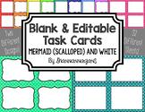 Blank Task Cards - Basics: Scalloped (Mermaid) & White | E