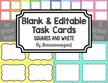Blank Task Cards - Basics: Sqaures & White | Editable PowerPoint