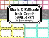 Blank Task Cards - Basics: Sqaures & White | Editable PowerPoint