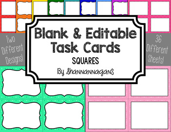 Blank Task Cards - Basics: Squares | Editable PowerPoint