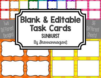 Blank Task Cards - Basics: Sunburst   Editable PowerPoint