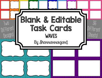 Blank Task Cards - Basics: Waves | Editable PowerPoint