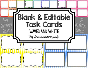 Blank Task Cards - Basics: Waves & White | Editable PowerPoint