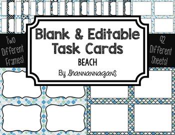Blank Task Cards: Beach | Editable PowerPoint