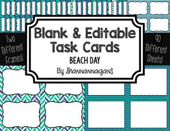 Blank Task Cards: Beach Day   Editable PowerPoint