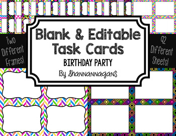 Blank Task Cards: Birthday Party Collection (300dpi) | Editable PowerPoint