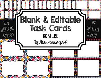 Blank Task Cards: Bonfire | Editable PowerPoint