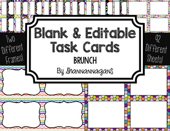 Blank Task Cards: Brunch Collection (300dpi) | Editable PowerPoint