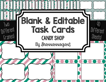 Blank Task Cards: Bubblegum Collection (300dpi) | Editable PowerPoint