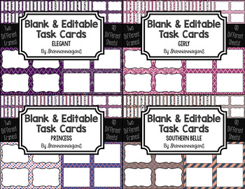 Blank Task Cards-Bundle: Ladylike (300dpi) with Editable PowerPoints