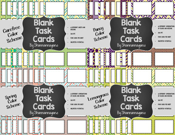 Blank Task Cards-Bundle: Spring (300dpi) with Editable PowerPoints
