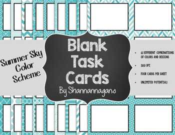 Blank Task Cards-Bundle: Summer (300dpi) with Editable PowerPoints