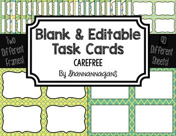 Blank Task Cards: Carefree | Editable PowerPoint