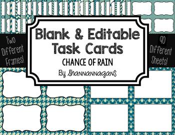 Blank Task Cards: Chance of Rain | Editable PowerPoint