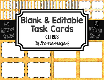 Blank Task Cards-Color Scheme: Citrus (300dpi) with Editab
