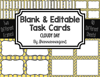 Blank Task Cards: Cloudy Day Collection (300dpi) | Editable PowerPoint