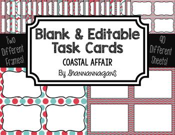 Blank Task Cards: Coastal Affair   Editable PowerPoint