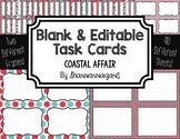 Blank Task Cards: Coastal Affair | Editable PowerPoint