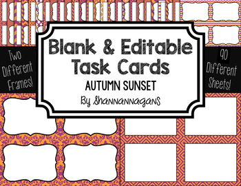 Blank Task Cards: Autumn Sunset Collection (300dpi) | Editable PowerPoint