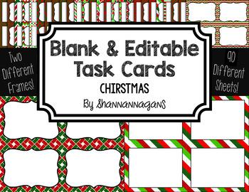Blank Task Cards-Color Scheme: Christmas (300dpi) with Edi