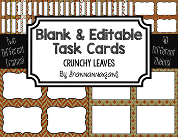Blank Task Cards: Crunchy Leaves Collection (300dpi) | Editable PowerPoint