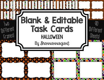 Blank Task Cards: Halloween Collection (300dpi) | Editable PowerPoint