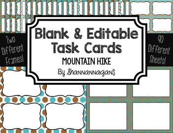 Blank Task Cards-Color Scheme: Mountain Hike (300dpi) with Editable PowerPoint