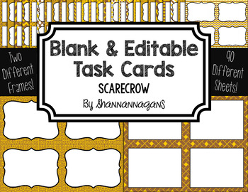 Blank Task Cards-Color Scheme: Scarecrow (300dpi) with Editable PowerPoint