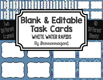 Blank Task Cards-Color Scheme: White Water Rapids with Edi