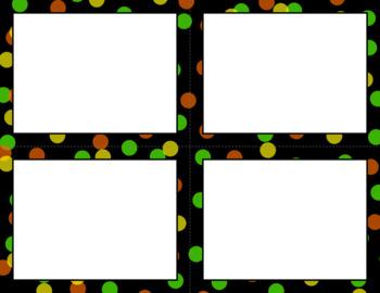 Blank Task Cards: Confetti - Black Background (300dpi)   Editable PowerPoint