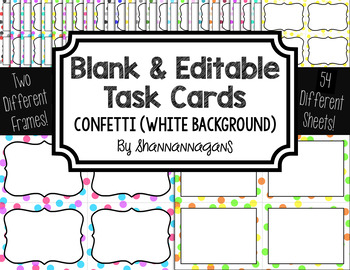 Blank Task Cards-Confetti: White Background (300dpi) with