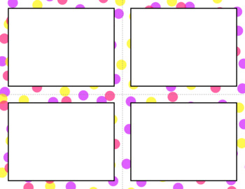 Blank Task Cards: Confetti - White Background (300dpi) | Editable PowerPoint